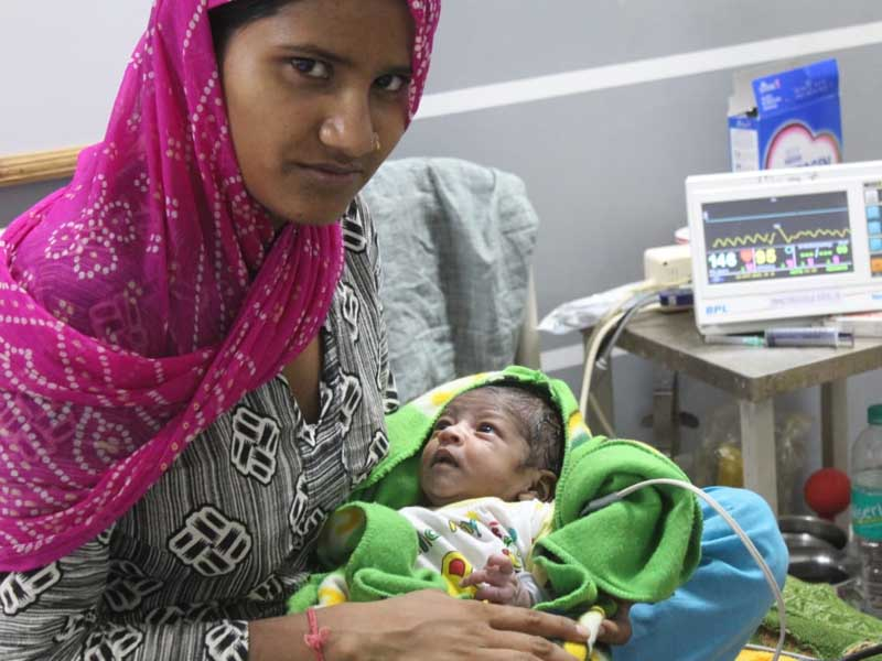 One month old baby had breathing problem, successful surgery in Jan Seva Hospital.